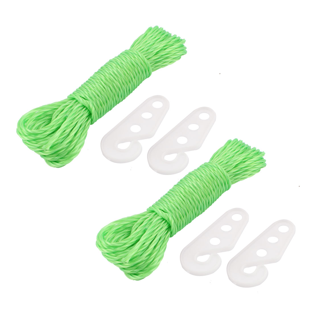 Camping Outdoor Laundry Nylon Clothesline Clothes Towels Hanging Line Rope String w Hooks 33Ft Green 2pcs