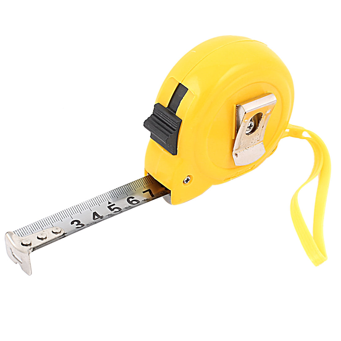 5M Yellow Housing Retractable Lock Button Belt Clip Ruler Metric Tape Measuring Tool w String