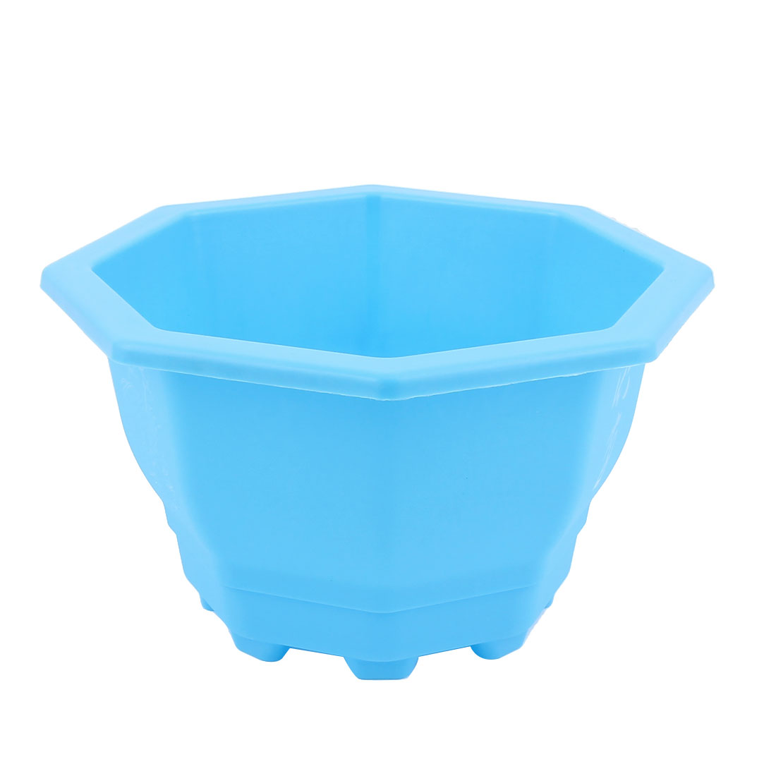 Plastic Octagon Shaped Office Home Garden Window Decor Plant Flower Pot Blue