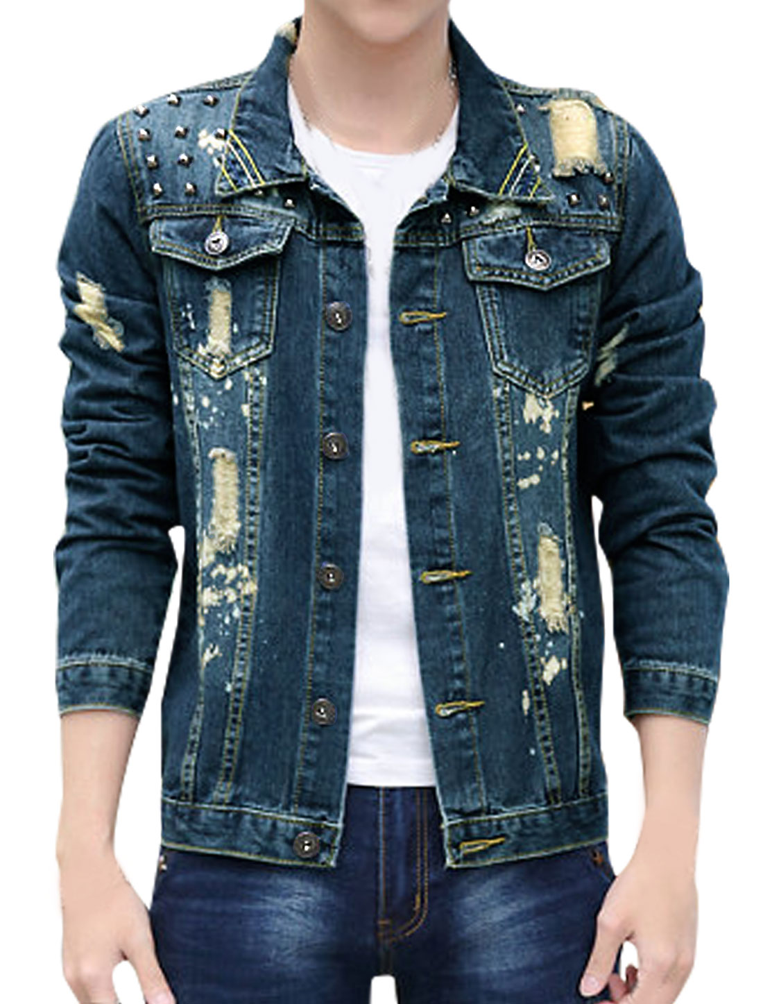 Men Rivets Decor Distressed Paint Spots Jean Jacket Blue S
