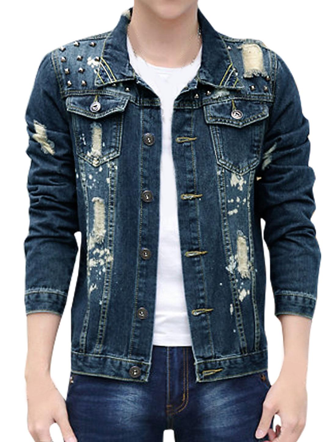 Men Rivets Decor Distressed Paint Spots Jean Jacket Blue S