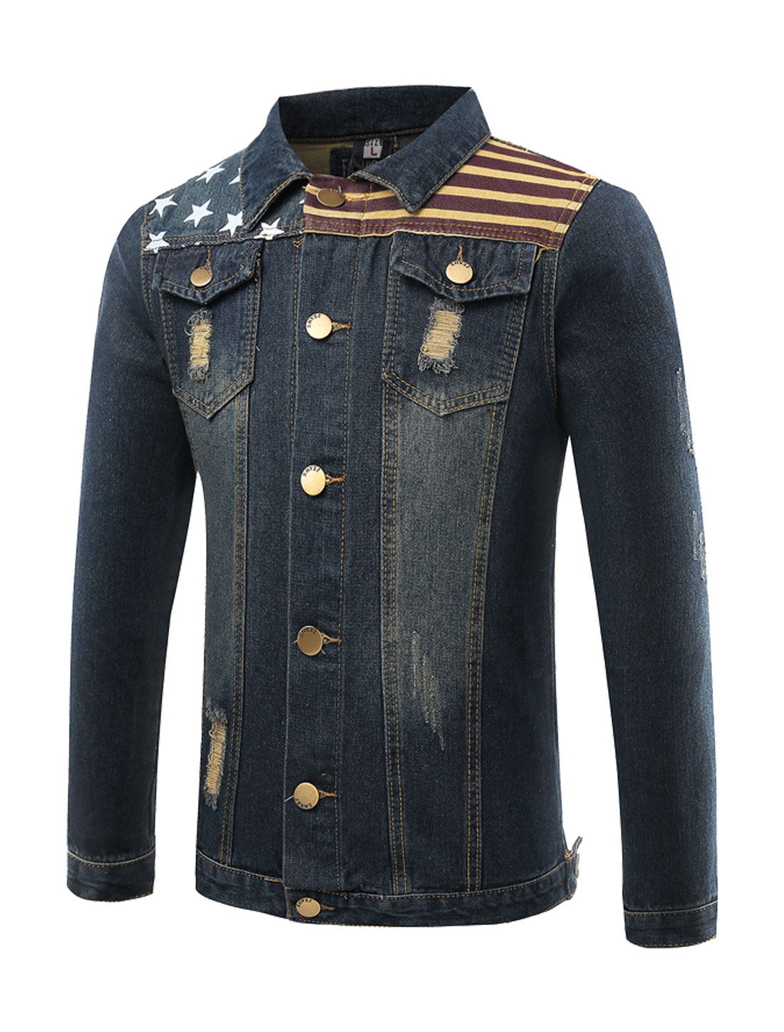 Man Stripes Stars Destroyed Slim Fit Denim Jacket Blue S