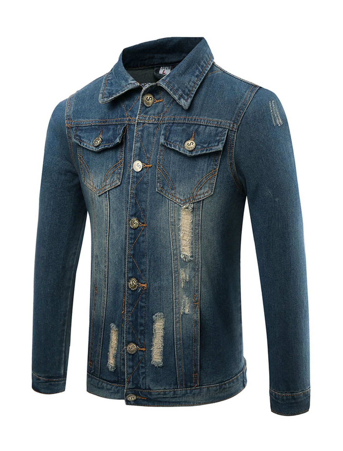 Men Four Pockets Destroyed Slim Fit Denim Jacket Blue S
