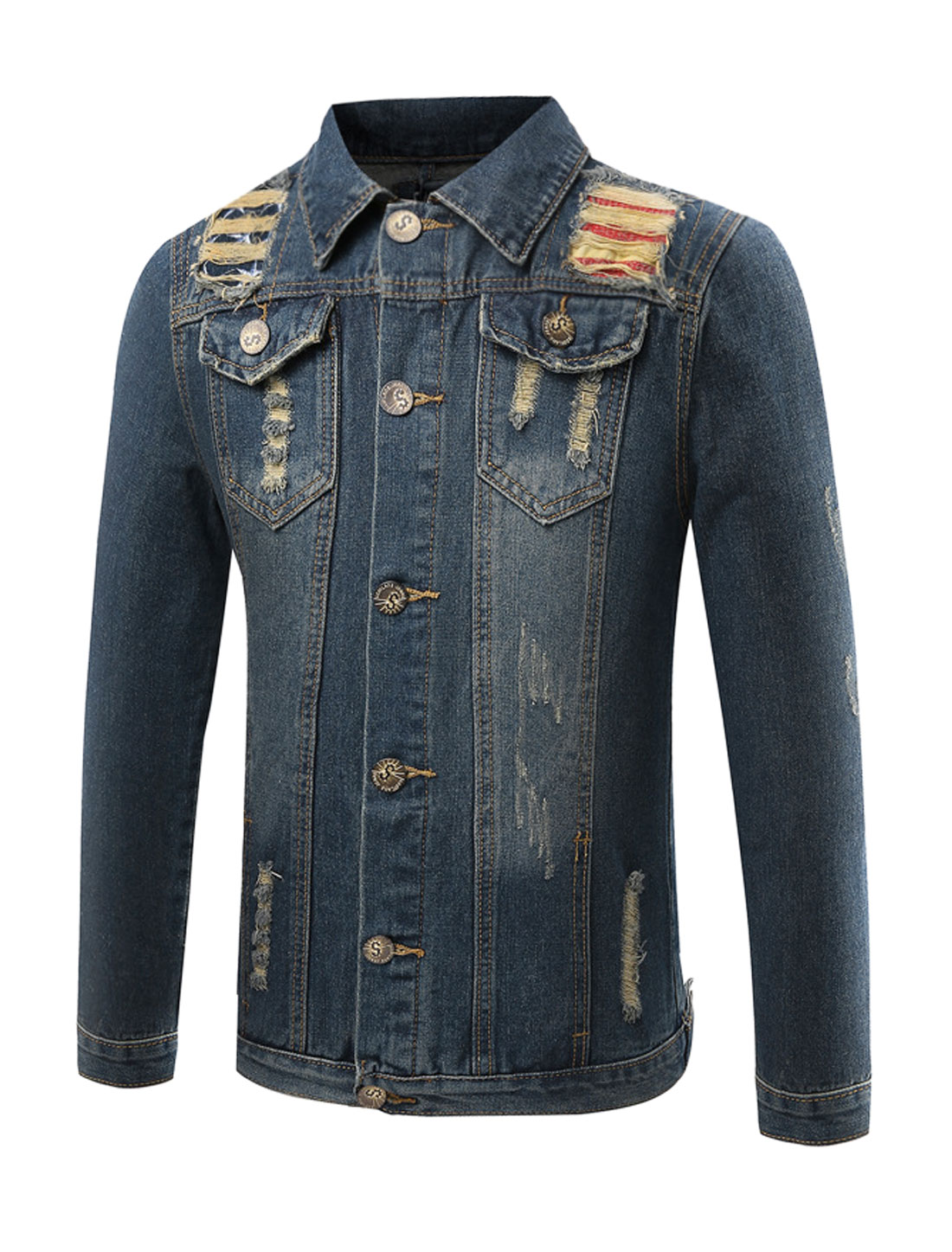Man Flap Pockets Distressed Slim Fit Denim Jacket Blue S