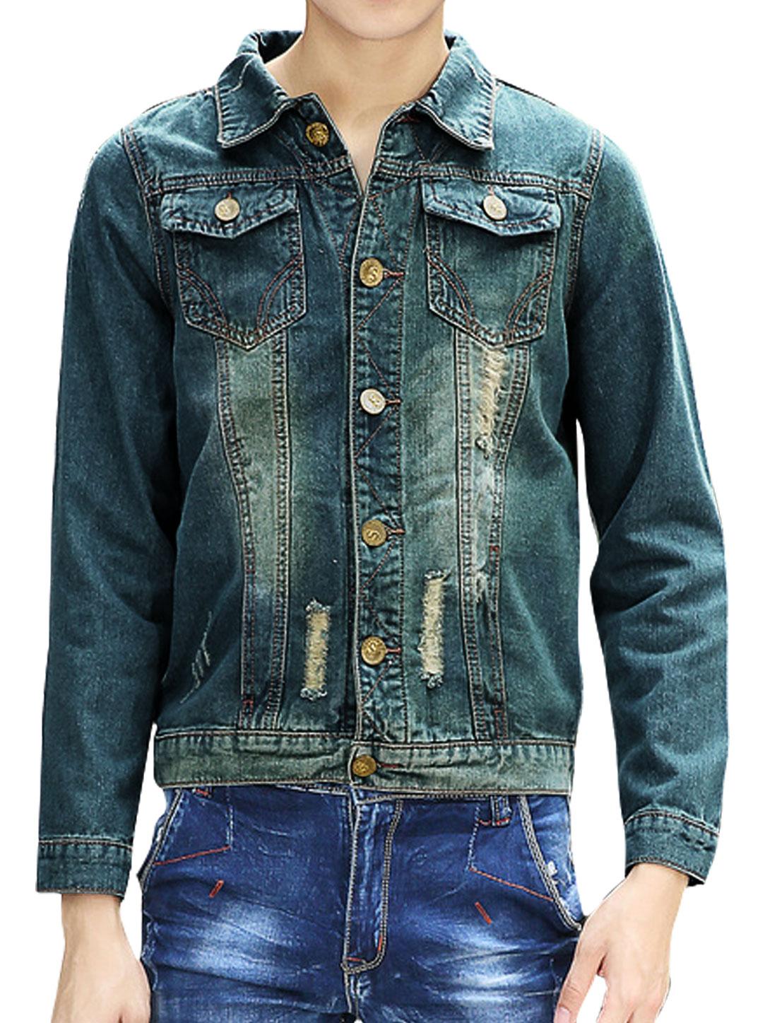 Men Four Pockets Destroyed Slim Fit Denim Jacket Blue S