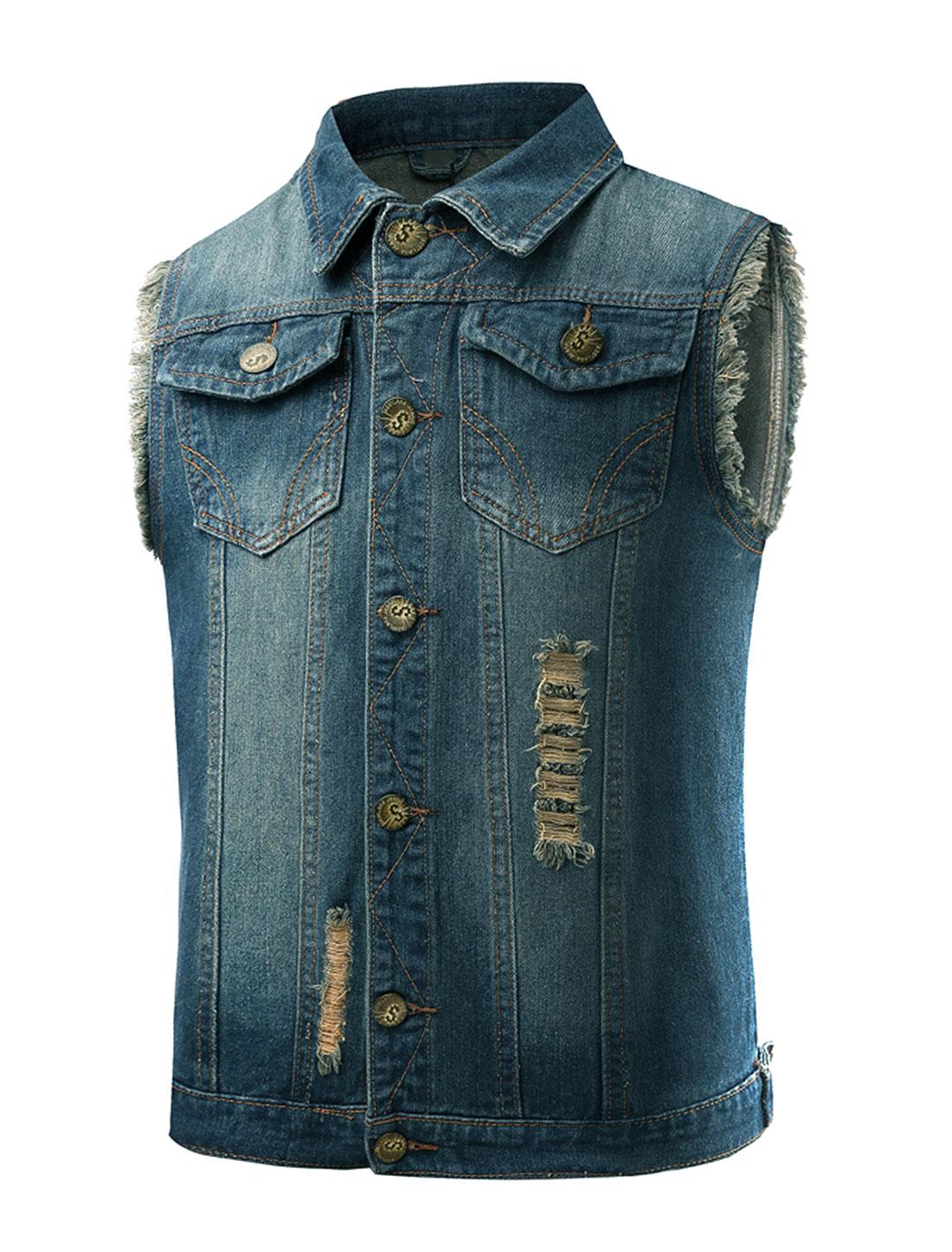 Men Collared Distressed Slim Fit Jean Vest Blue M