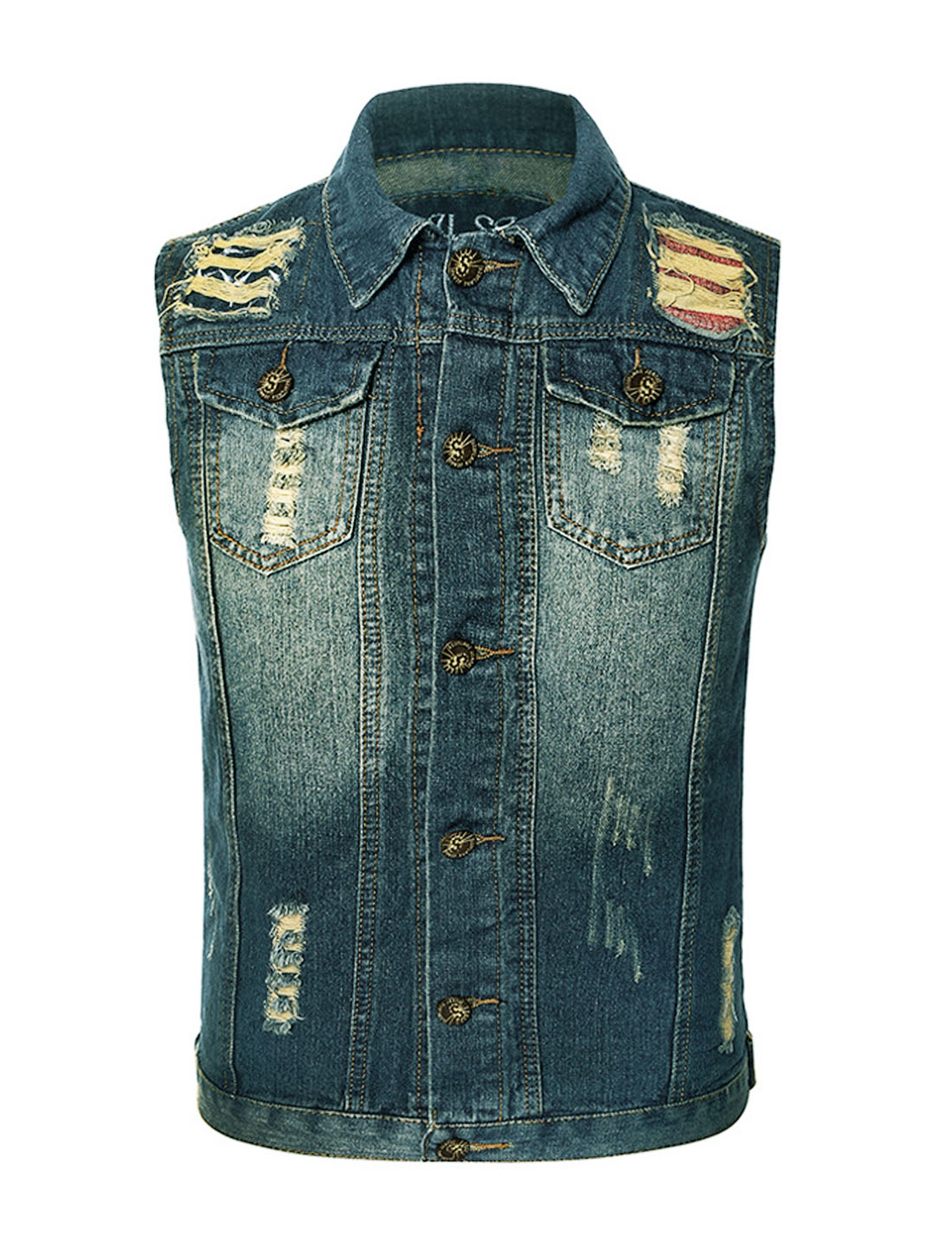 Men Collared Distressed Stars Embroidery Detail Jean Vest Blue M