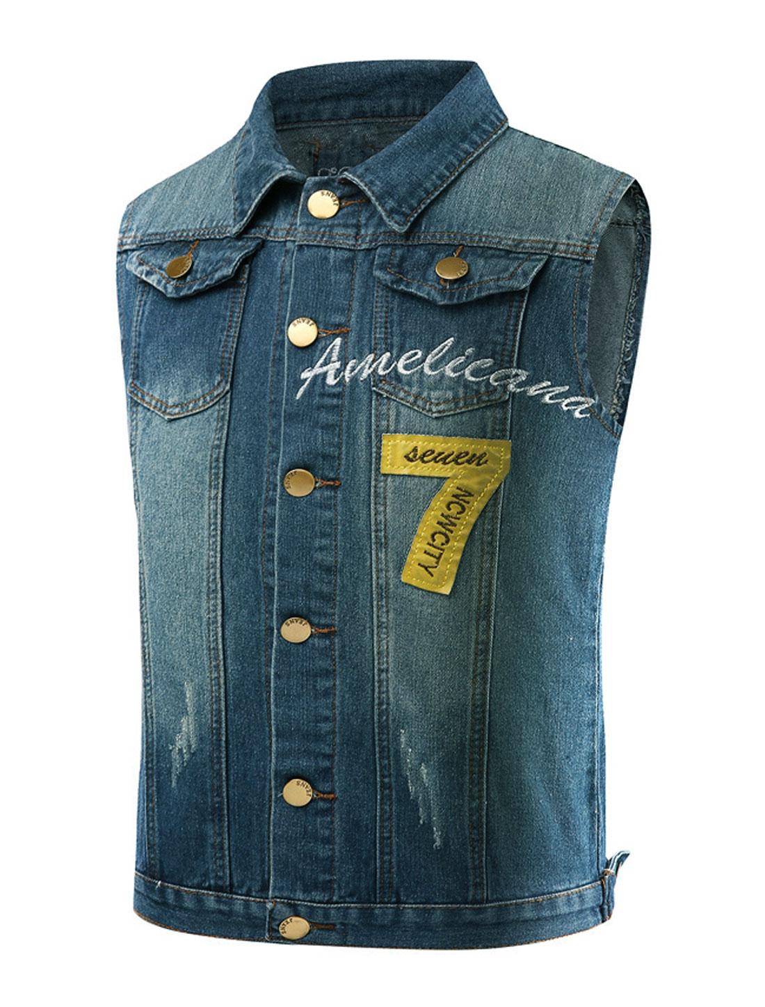 Men Letters Embroidery Numbers Applique Jean Vest Blue M