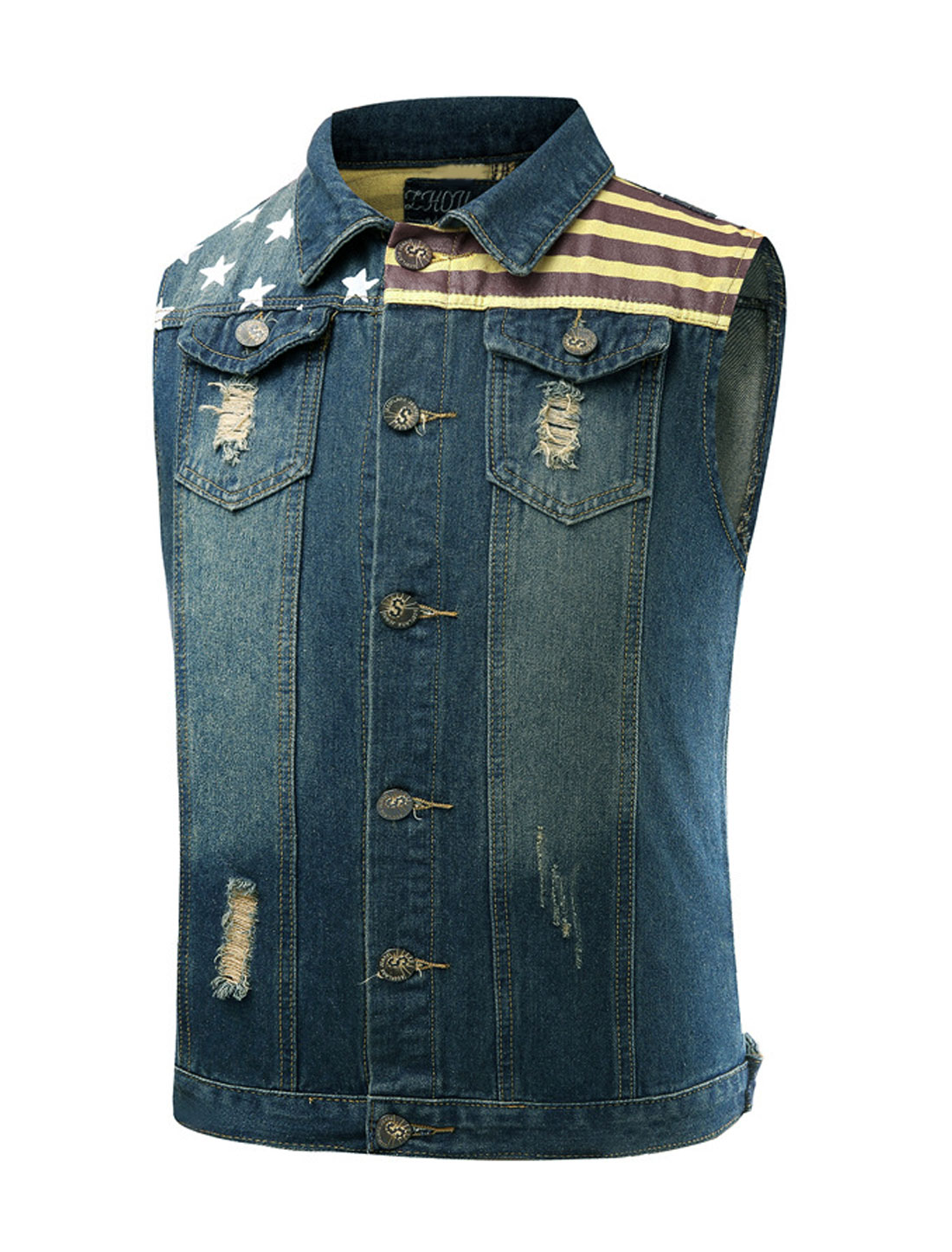 Men Distressed Stars Stripes Slim Fit Jean Vest Blue M