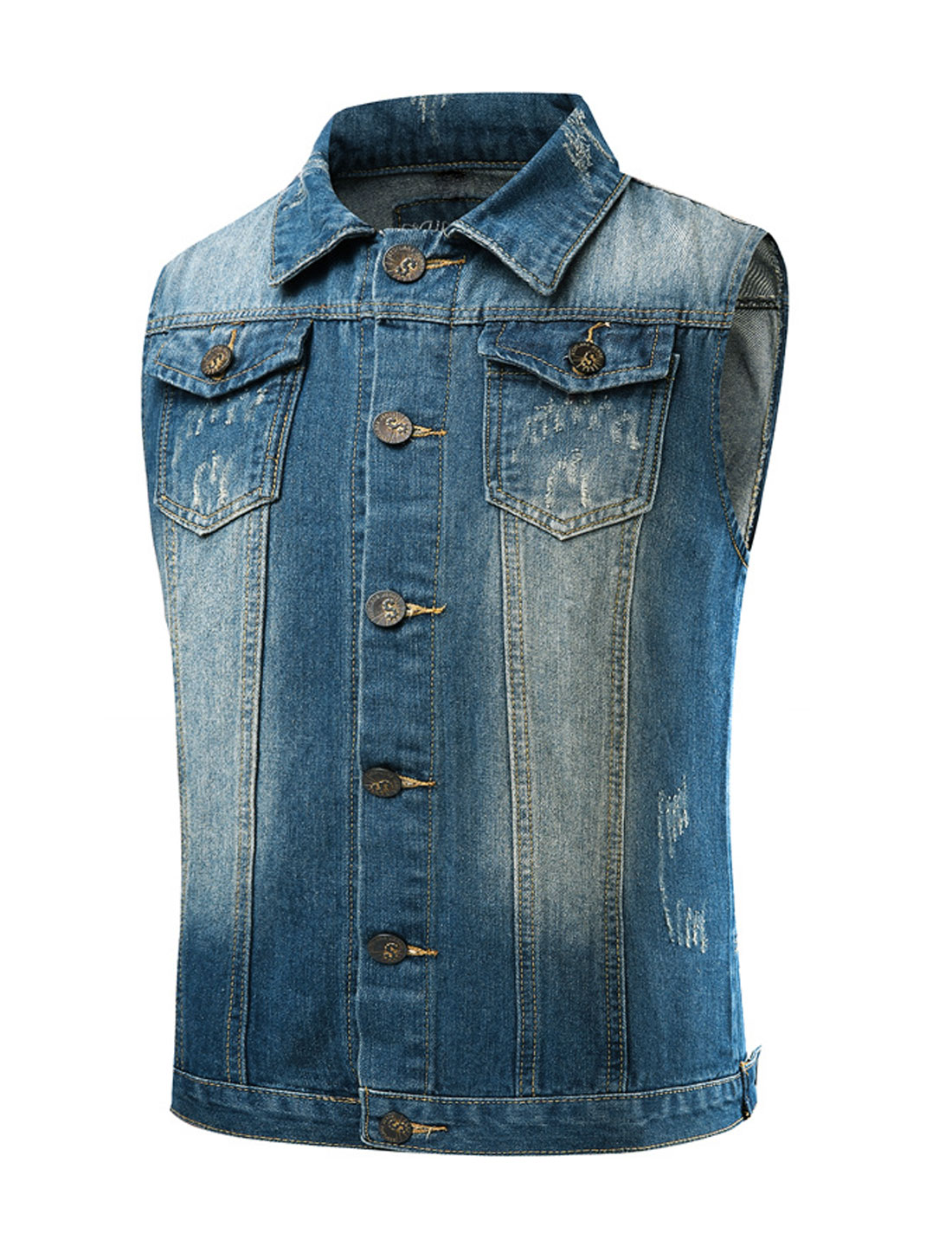 Men Distressed Numbers Letters Slim Fit Jean Vest Blue M