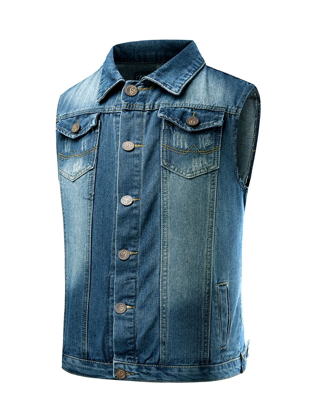 Men Collared Distressed Novelty Slim Fit Jean Vest Blue M