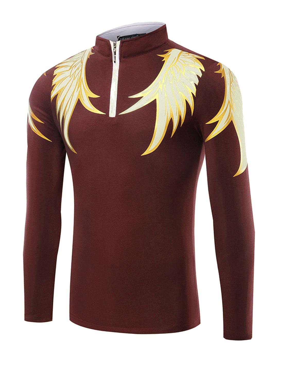 Man Stand Collar Half Zipper Wings T-Shirt Red M