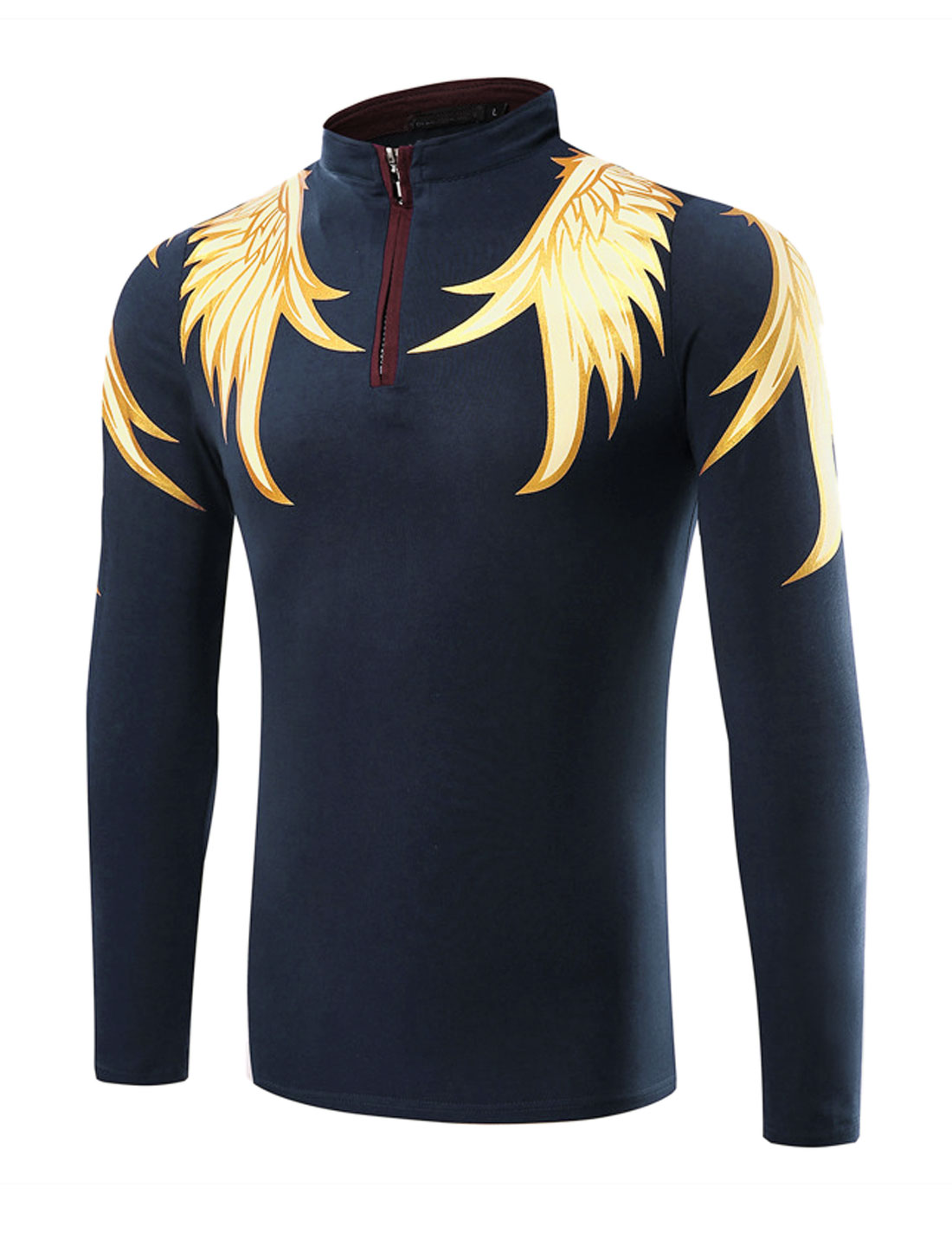 Man Stand Collar Half Zipper Wings T-Shirt Blue M
