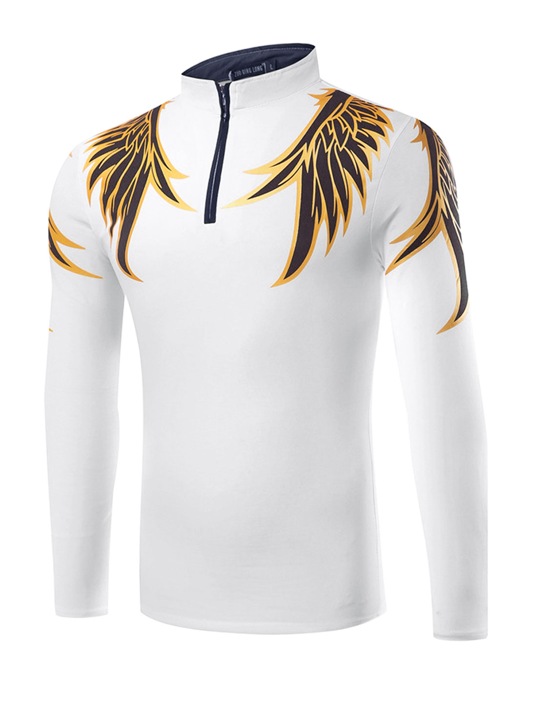 Man Stand Collar Half Zipper Wings T-Shirt White M