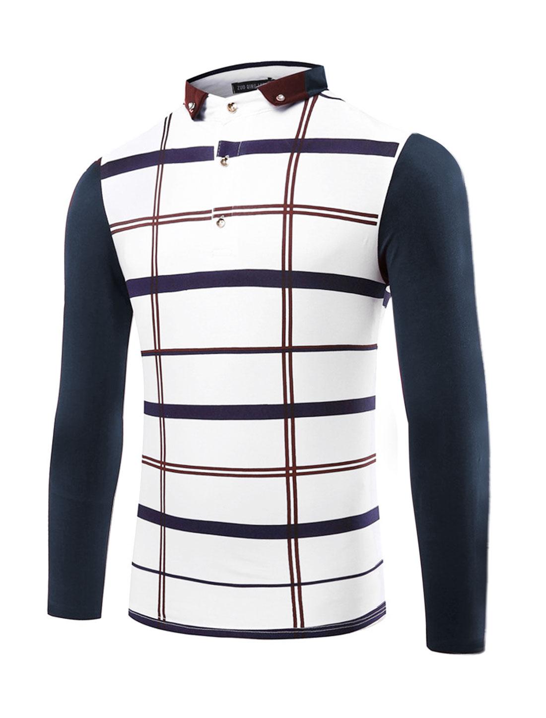 Men Collared Contrast Color Plaids Slim Fit T-Shirt Blue M
