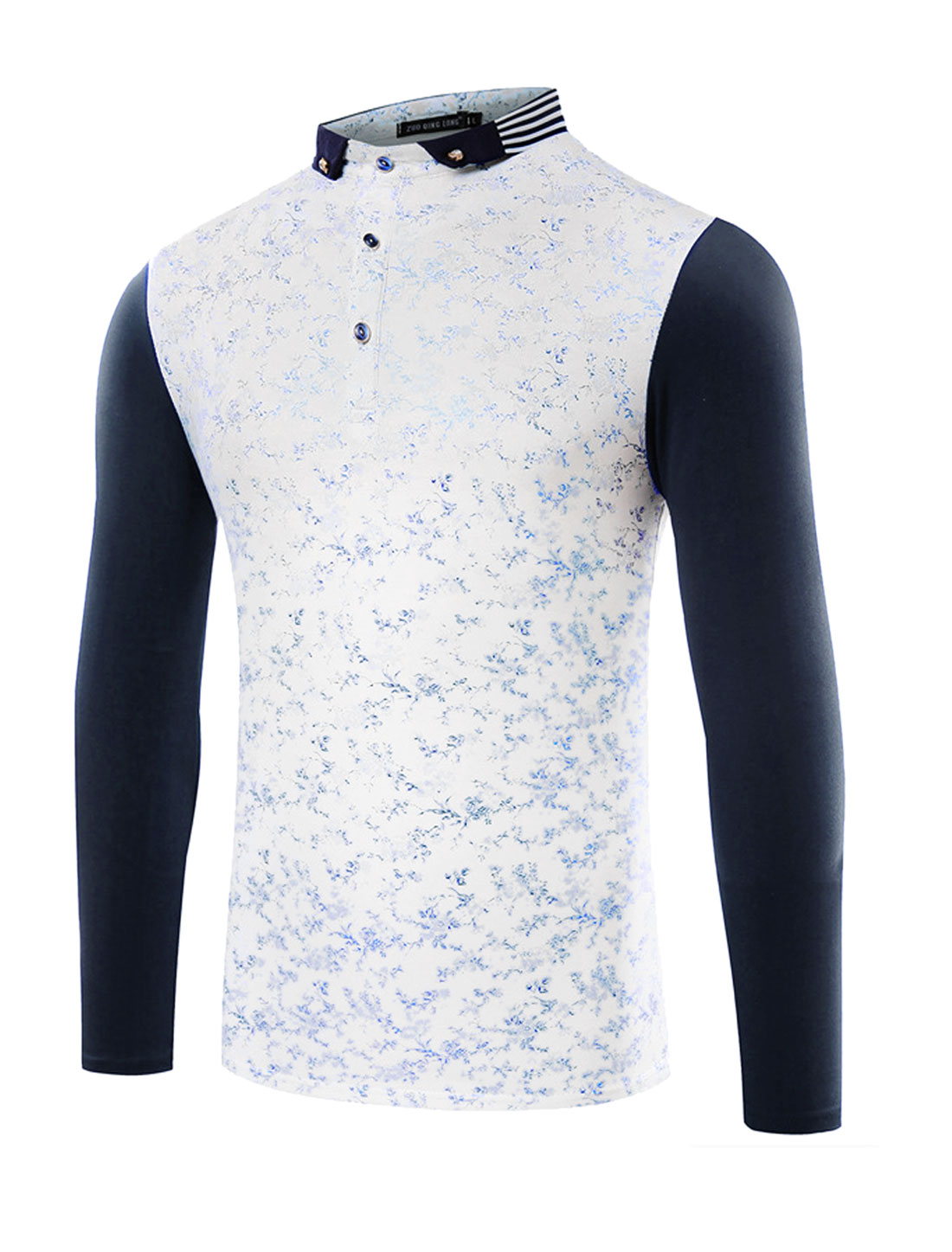 Men Collared Long Sleeves Floral Slim Fit T-Shirt Blue M