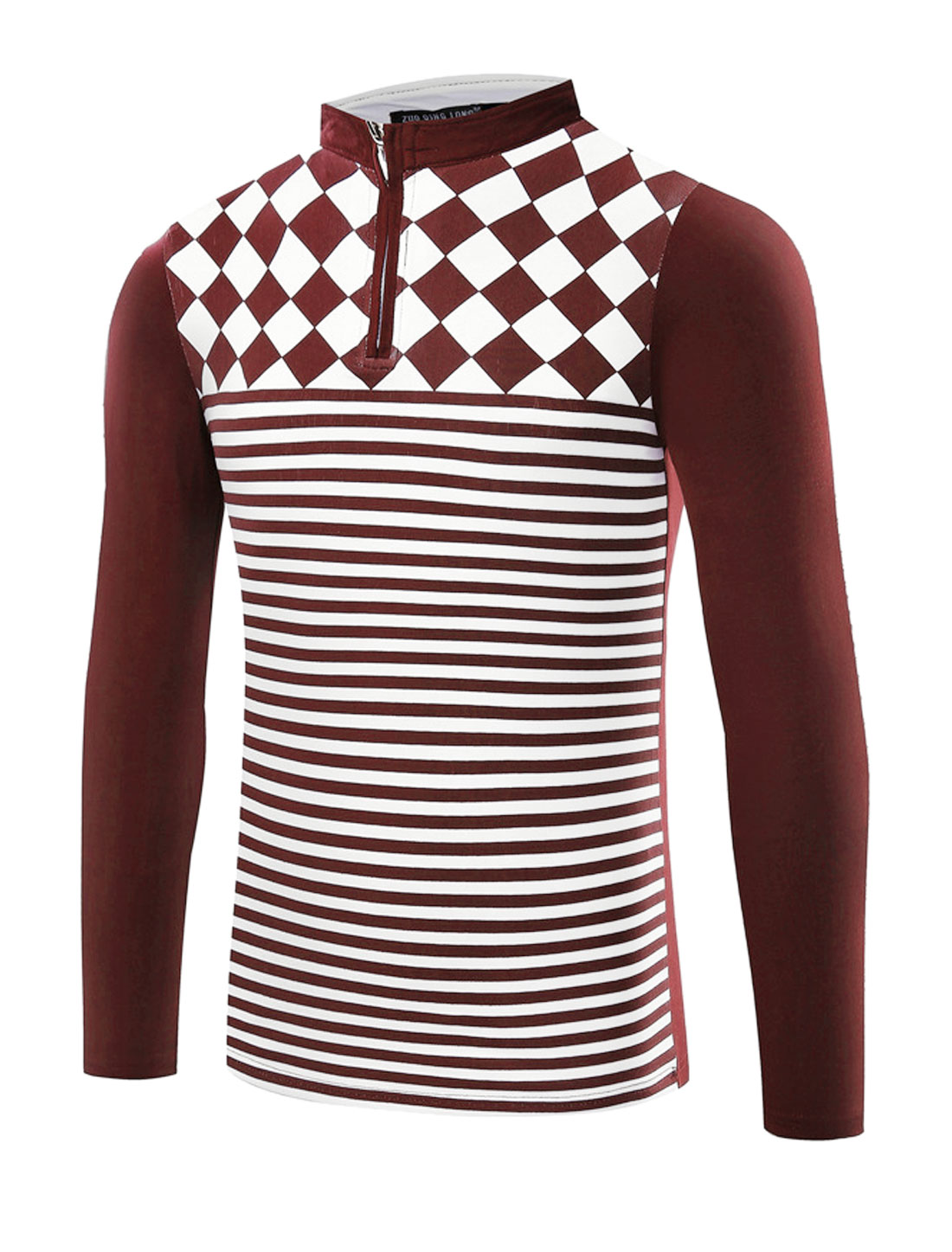 Man Collared Half Zipper Argyle Stripes T-Shirt Red M