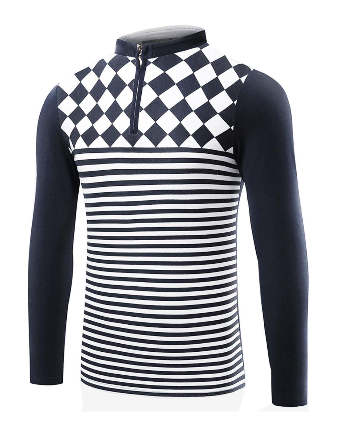 Man Collared Half Zipper Argyle Stripes T-Shirt Blue M