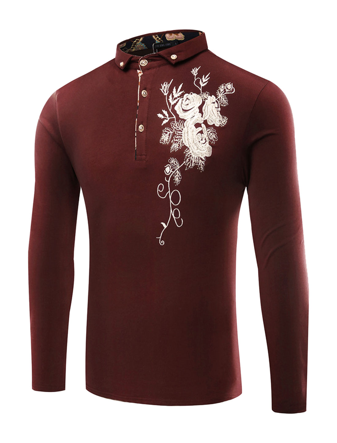 Men Rhinestones Decor Floral Embroidery T-Shirt Red M