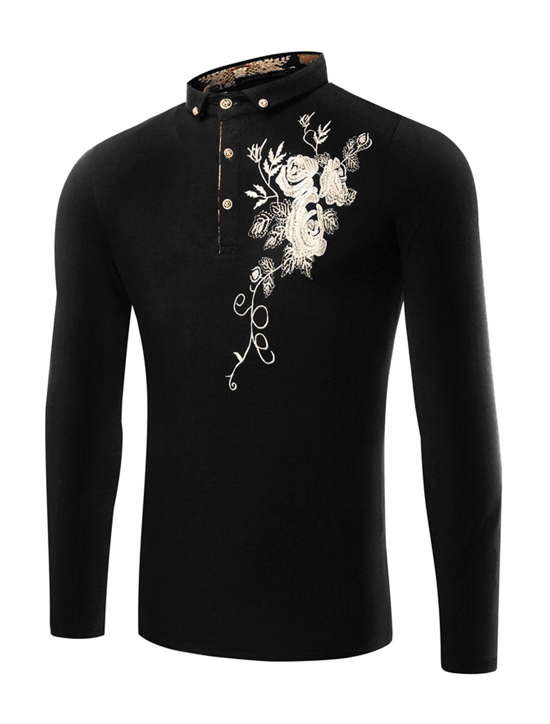 Men Rhinestones Decor Floral Embroidery T-Shirt Black M