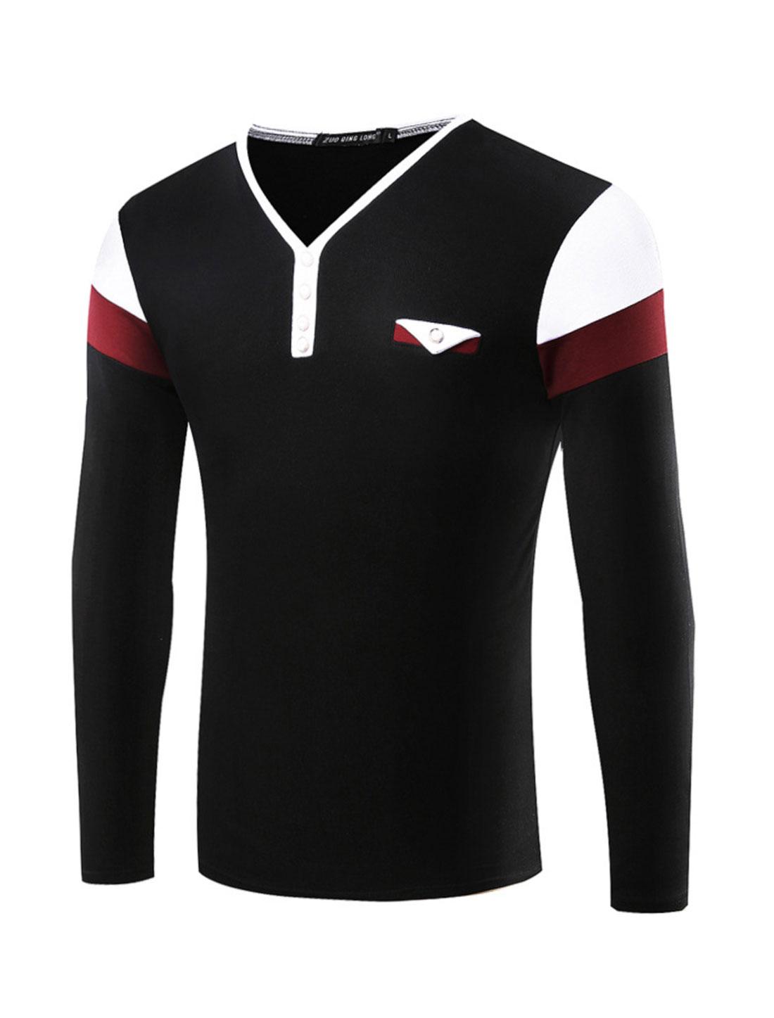 Man Y Neck Buttons Decor Contrast Color Tee Shirt Black M