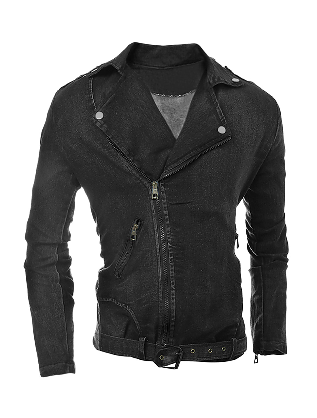 Man Convertible Collar Inclined Zipper Denim Jacket Black M