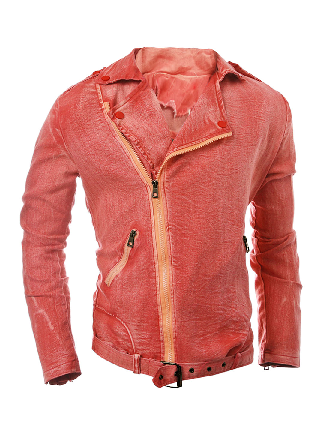 Man Convertible Collar Inclined Zipper Denim Jacket Red M