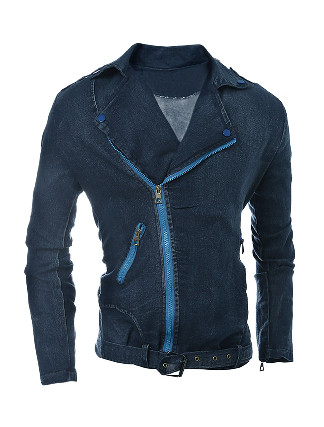 Man Convertible Collar Inclined Zipper Denim Jacket Blue M