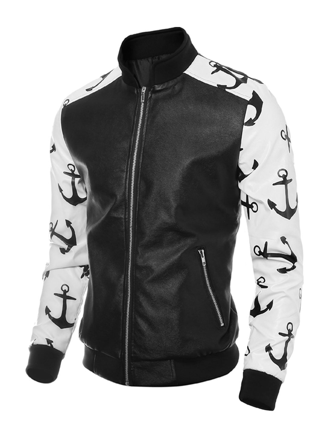 Man Contrast Color Anchors PU Jacket White Black M