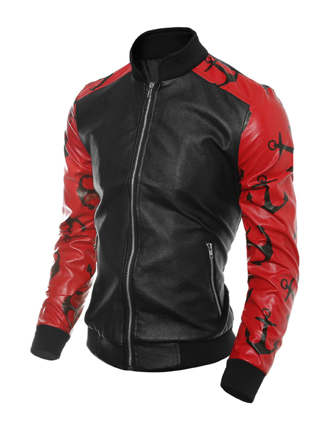 Man Contrast Color Anchors PU Jacket Red Black M