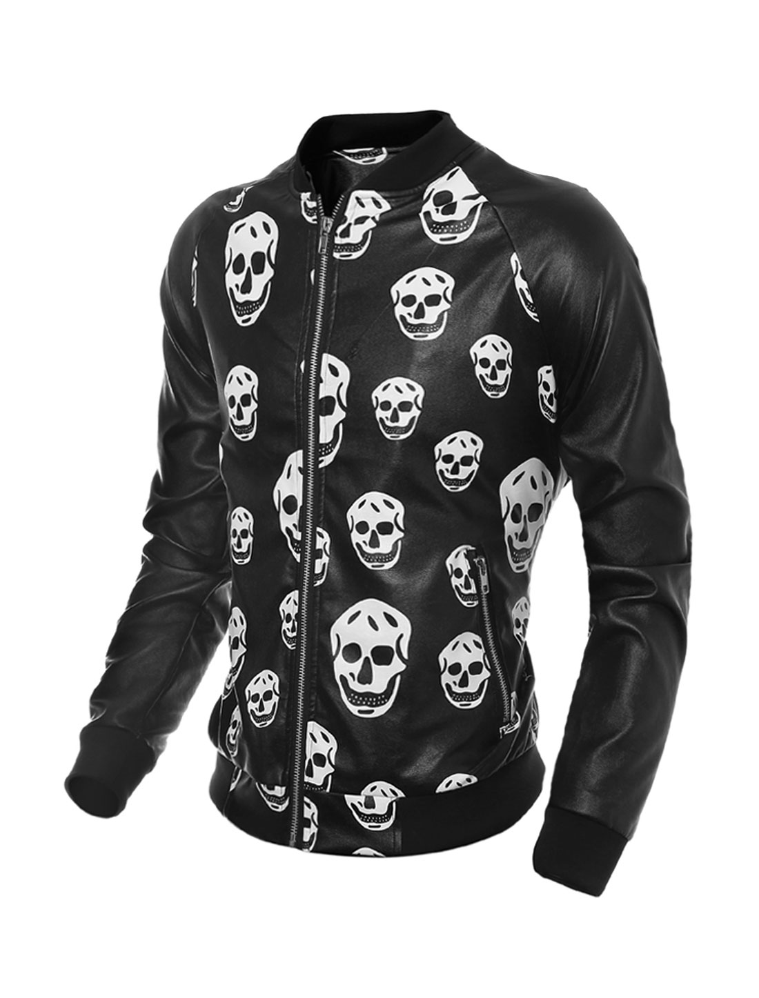 Man Collared Zippered Pockets Skulls PU Jacket Black M