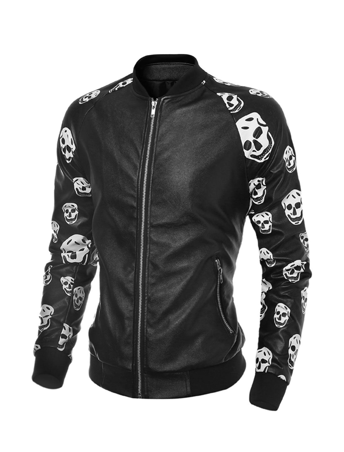 Man Collared Zippered Pockets Skulls PU Jacket Black M