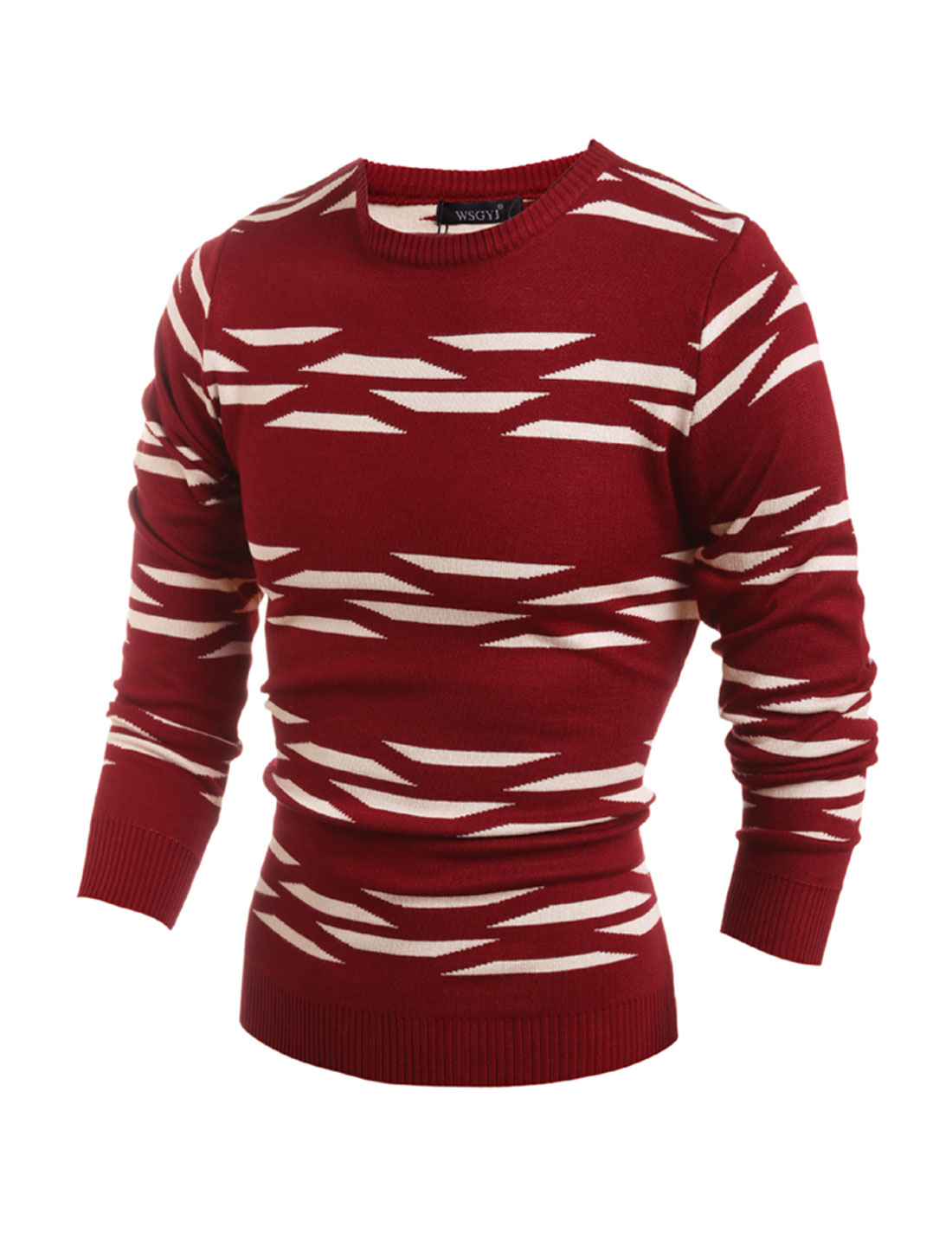 Men Crew Neck Geometric Slim Fit Knit Shirt Red M