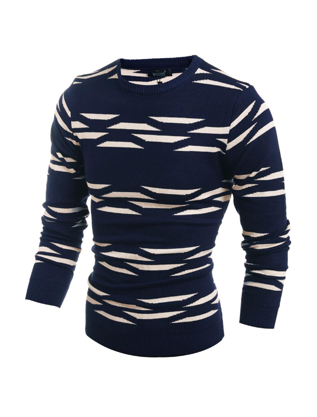 Men Crew Neck Geometric Slim Fit Knit Shirt Blue M