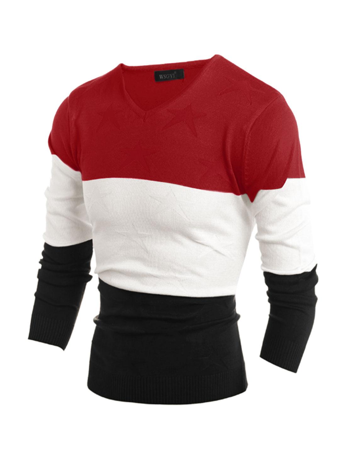 Men V Neck Stars Color Block Slim Fit Knit Shirt Red M