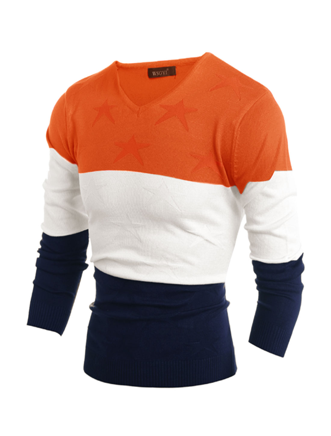Men V Neck Stars Color Block Slim Fit Knit Shirt Orange M