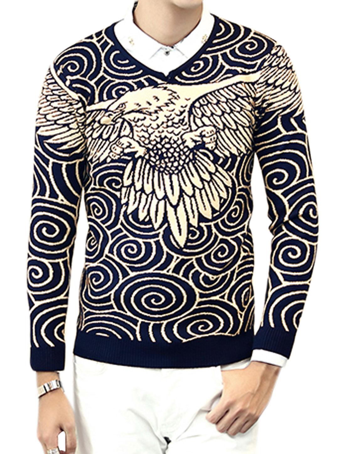 Men V Neck Eagle Twirls Slim Fit Knit Shirt Blue M