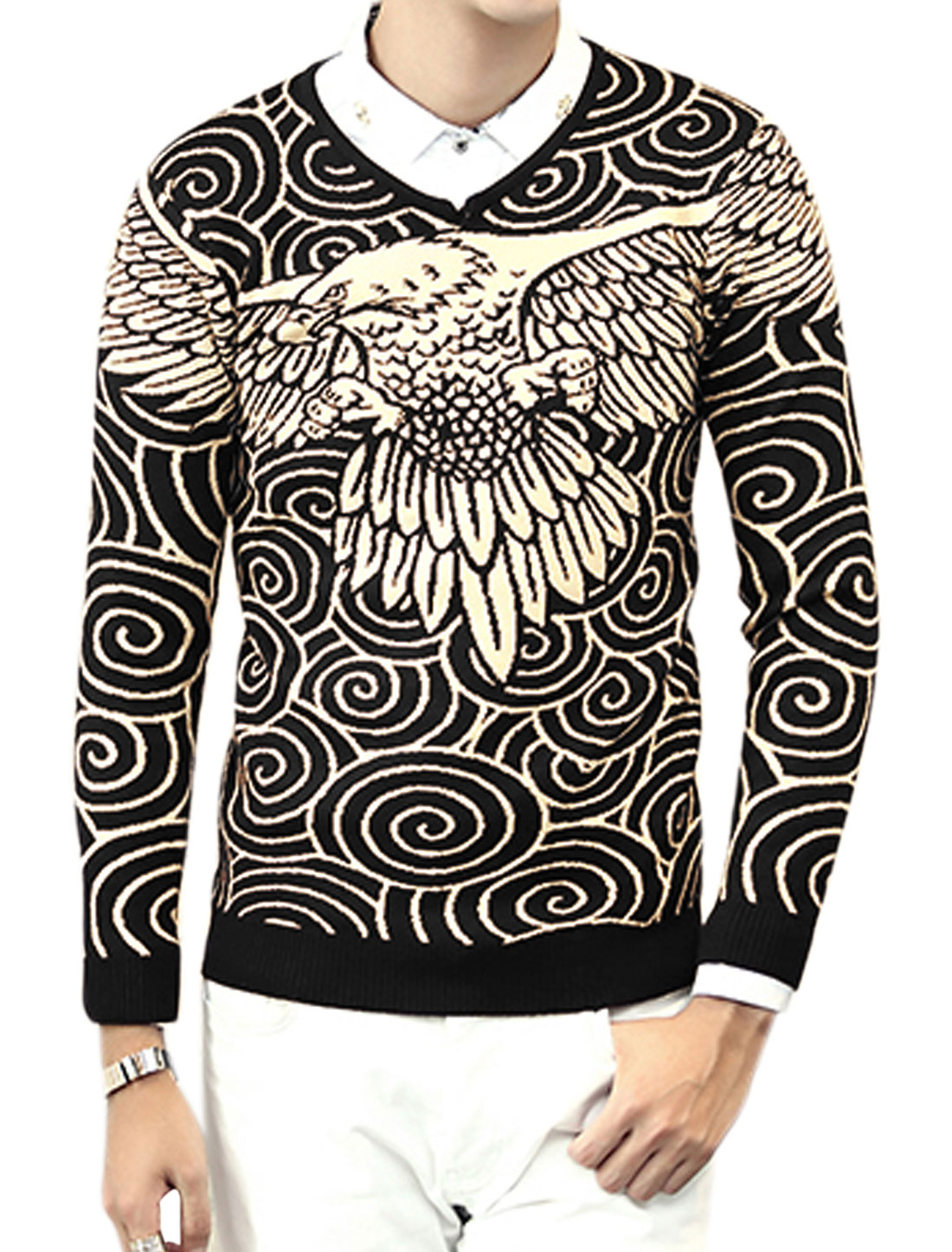 Men V Neck Eagle Twirls Slim Fit Knit Shirt Black M