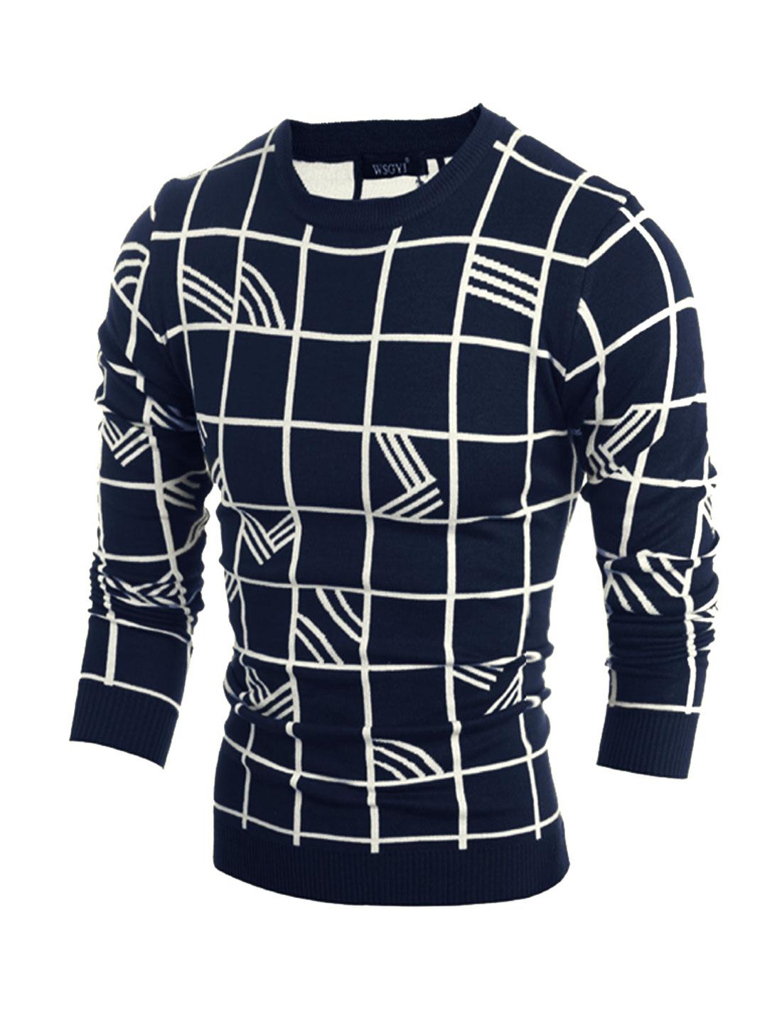 Men Crew Neck Plaids Stripes Slim Fit Knit Shirt Blue M