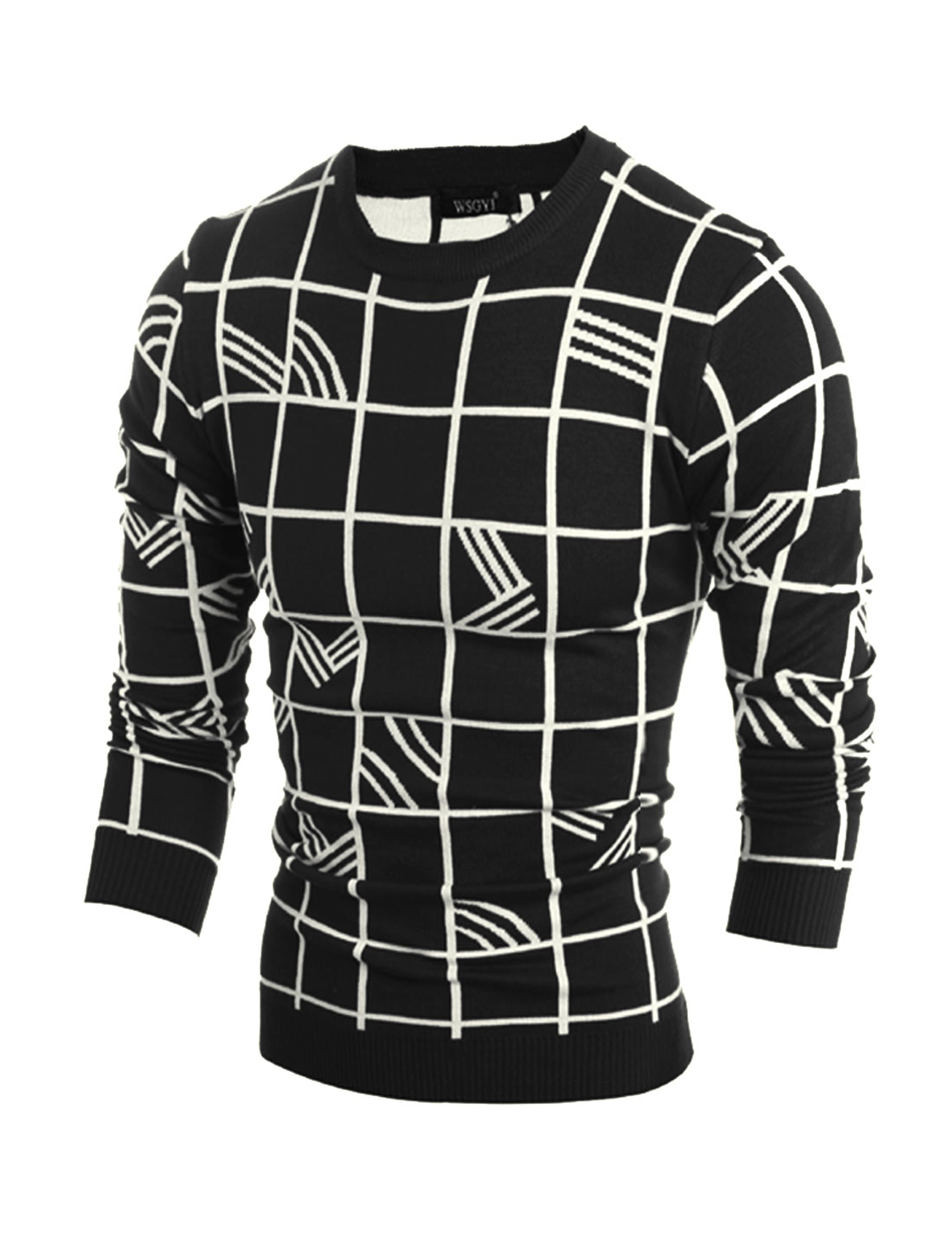 Men Crew Neck Plaids Stripes Slim Fit Knit Shirt Black M