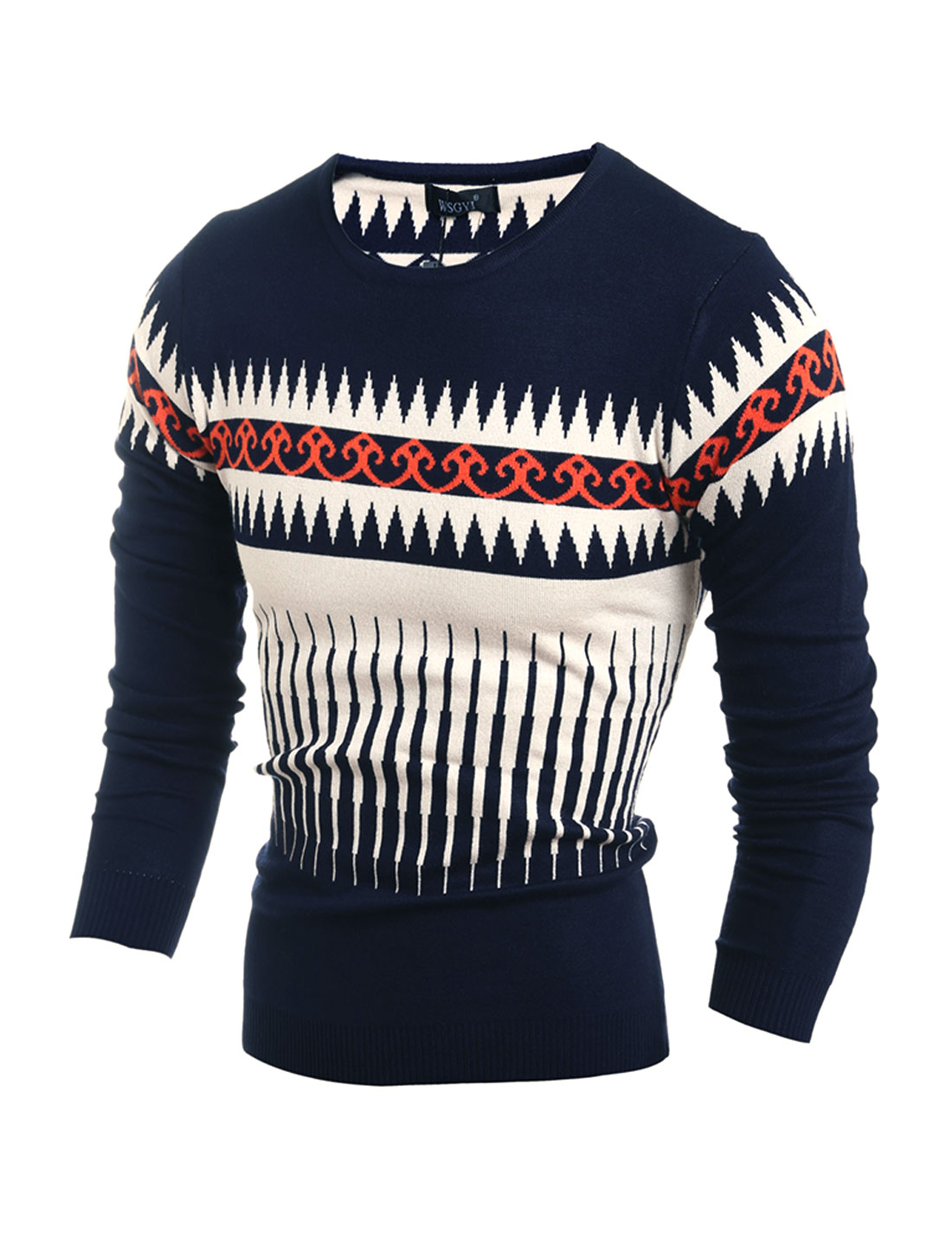 Men Crew Neck Geometric Novelty Slim Fit Knit Shirt Blue M