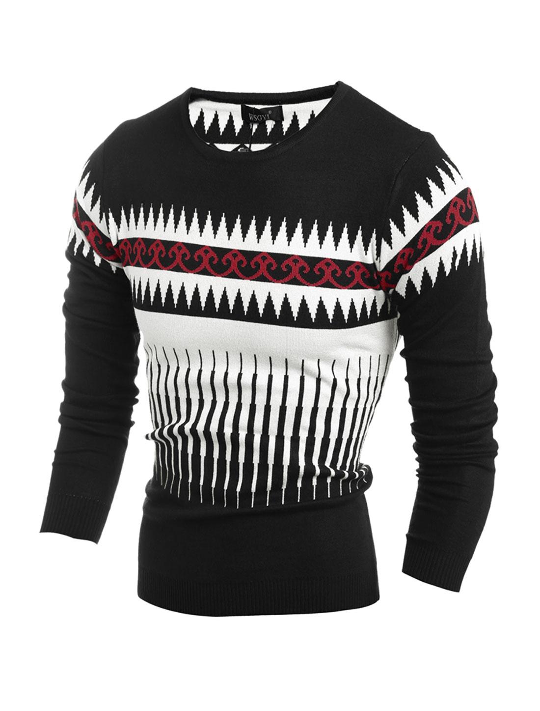 Men Crew Neck Geometric Novelty Slim Fit Knit Shirt Black M