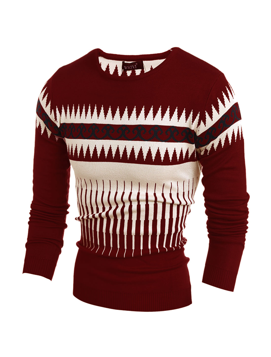 Men Crew Neck Geometric Novelty Slim Fit Knit Shirt Red M