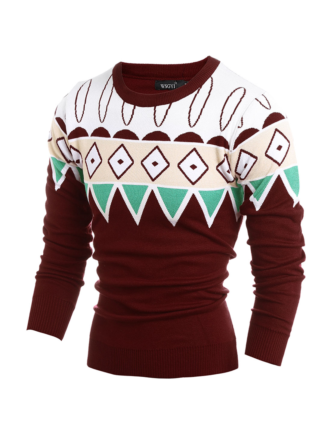 Men Crew Neck Geometric Contrast Color Slim Fit Knit Shirt Red M