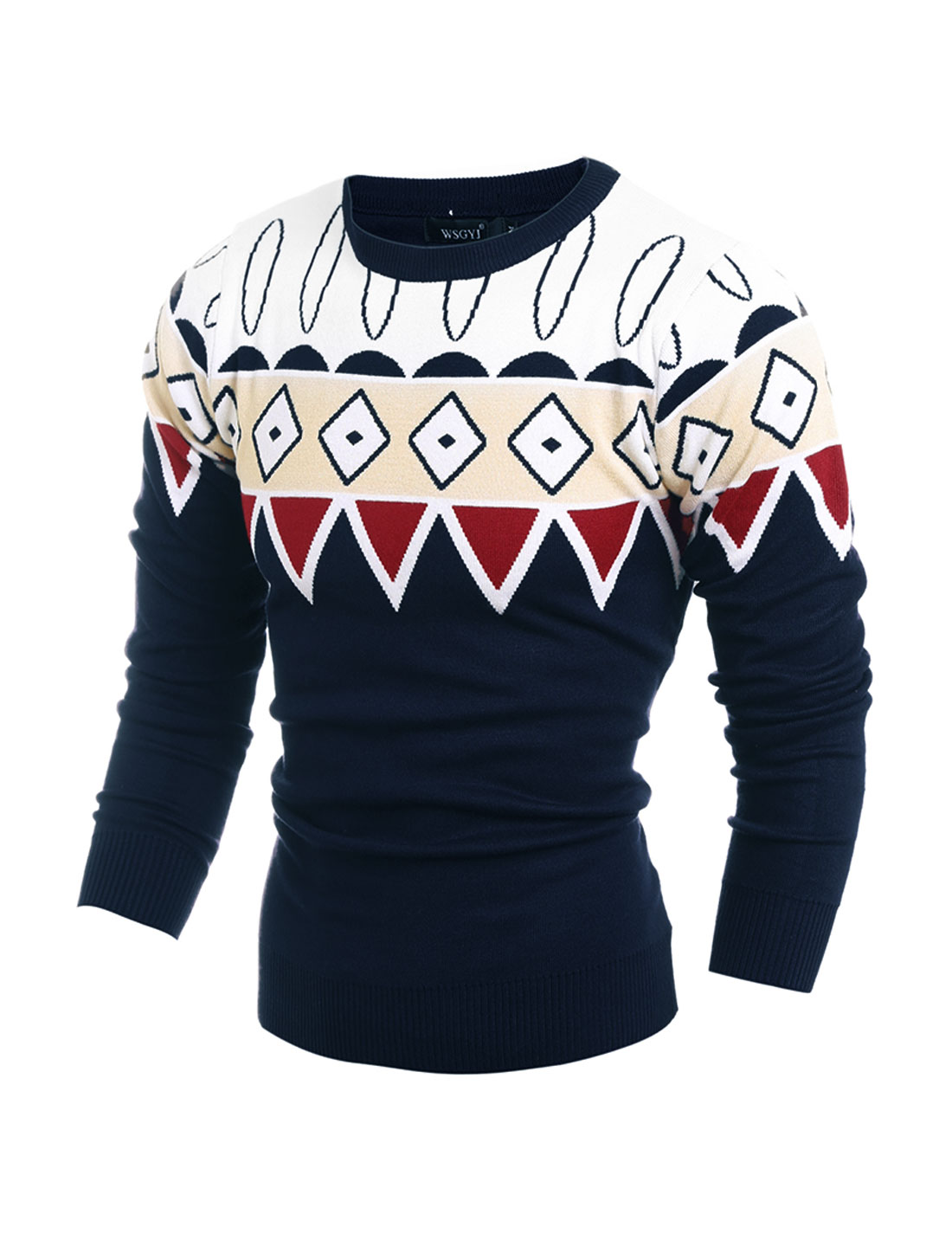 Men Crew Neck Geometric Contrast Color Slim Fit Knit Shirt Blue M