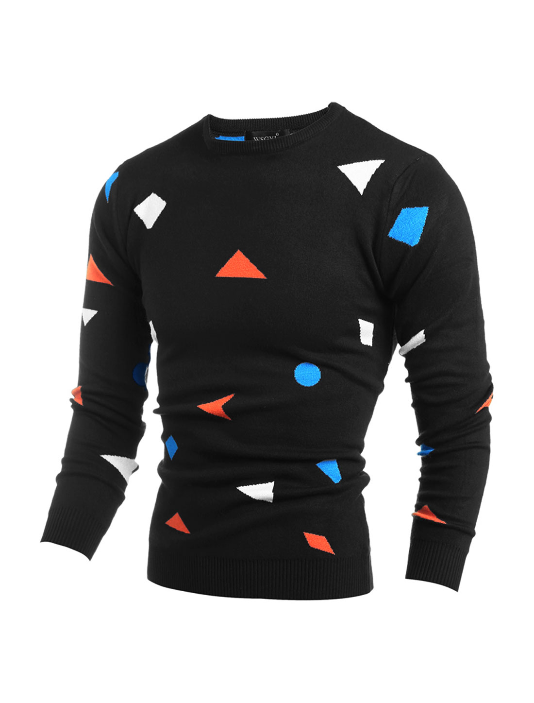 Men Crew Neck Geometric Pullover Knit Shirt Black M