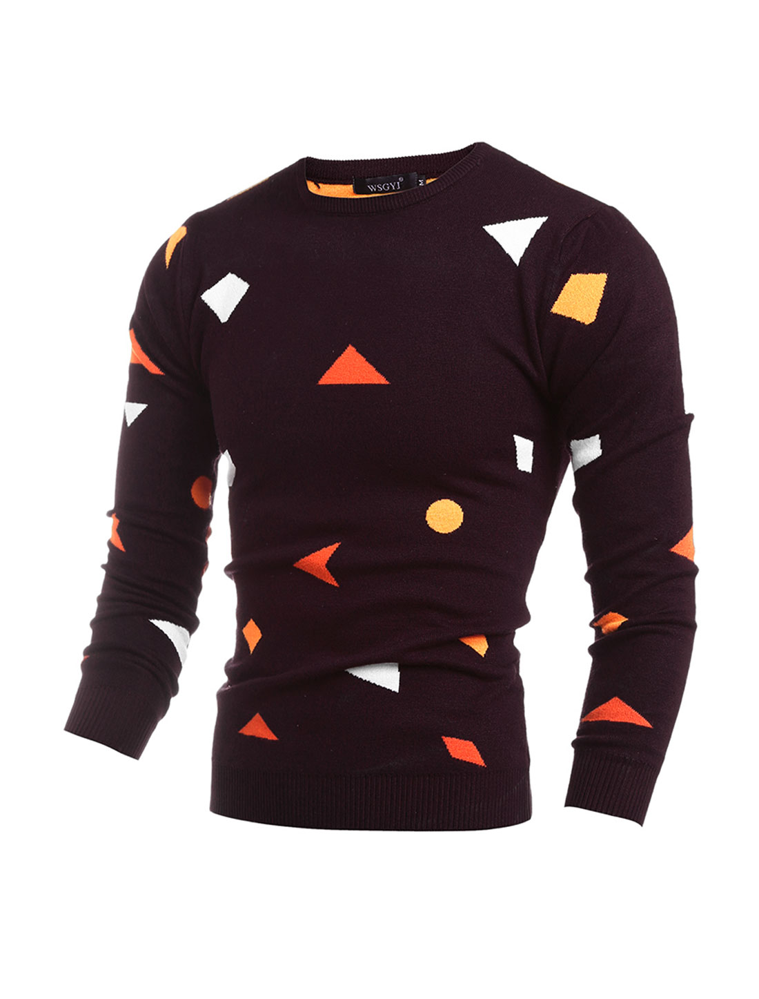 Men Crew Neck Geometric Pullover Knit Shirt Purple M
