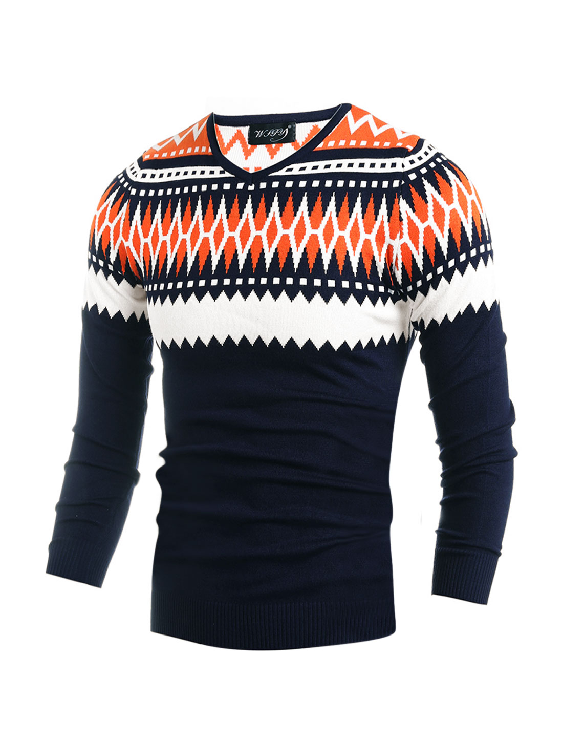Men V Neck Geometric Contrast Color Slim Fit Knit Shirt Orange M