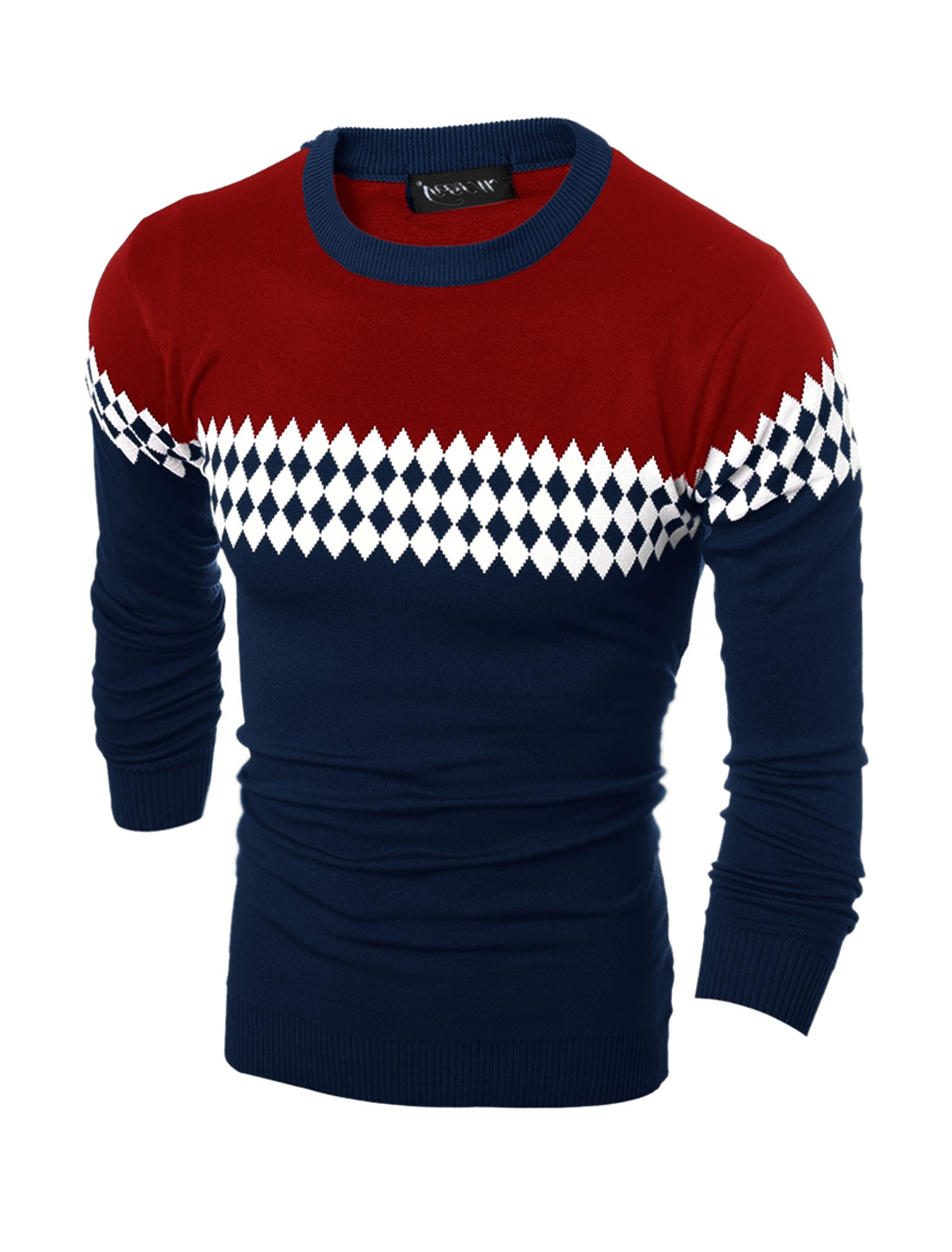 Men Crew Neck Contrast Color Argyle Slim Fit Knit Shirt Blue M