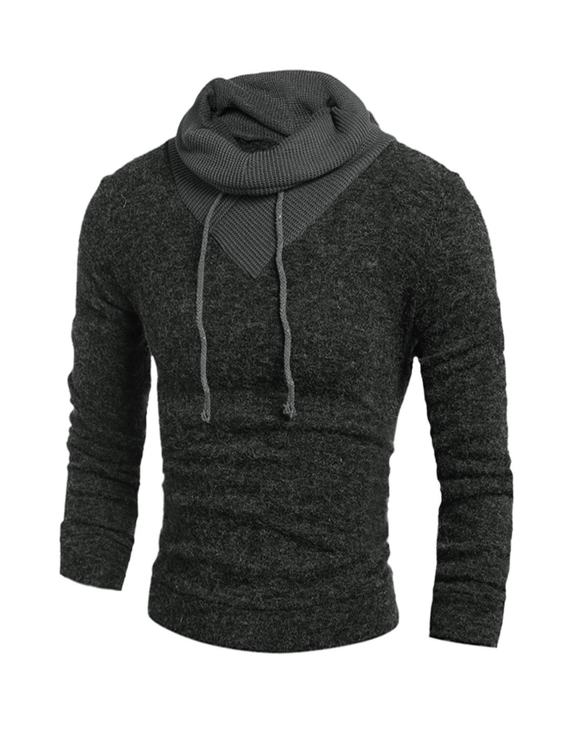 Man Drawstring Turtle Neck Knitted Shirt Dark Gray M